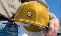 Gold seal logo on hard hat